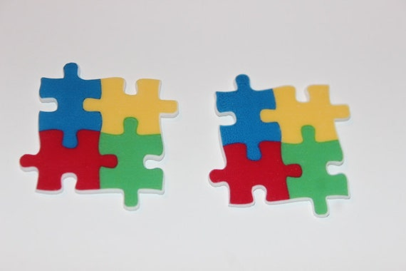 2 pieces flat plantar resin embellishment autism puzzle for Decoration or embellishment crossword