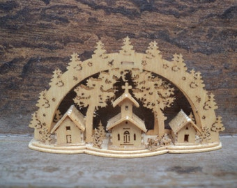 Miniature church and cottages Scene