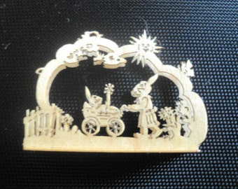 """Dollhouse miniature wooden scene 'carriage stroller' in 1"""" or 1:12 scale"""