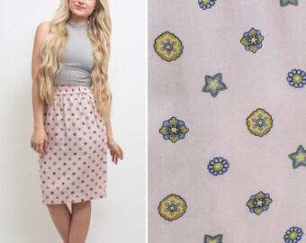 Pink skirt vintage EIGHTIES midi elastic waist high waist patterned 80s RAYON pockets 1980s Liz Sport skirt
