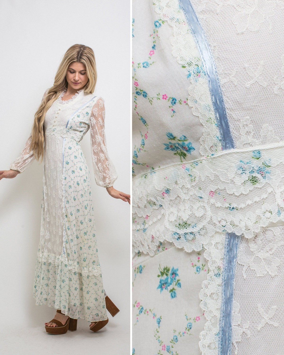 Boho Wedding Dress Size 18 : Hippie boho dress vintage floral s wedding prairie