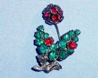 Vintage Austria Green and Red Rhinestone Flower Brooch