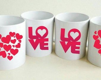 Love and Hearts Mug Set | Wife Gift | Set of Mugs | Girlfriend Gift | Coffee Mug Set | Birthday Gift | Custom Coffee Mug | Tea Cup