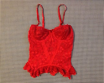 1980's, red, lace, bustier, bra top, Women's size XS/34A