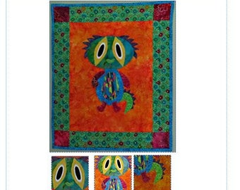 Quilt Pattern, Appliqued Nursery Room Wall Hanging, Monster Wall Hanging, Kids Wall Hanging Pattern