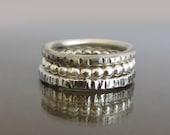 Set of 3 Stacking Rings,Silver Stacking Ring, Sterling Silver Stackable Ring, Hammered Silver Ring, Sterling Silver Band, Dainty Ring,Stacks