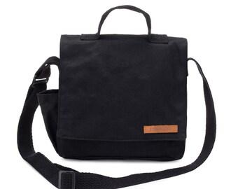 Fabric Crossbody Bag, Black Canvas Kids Mini Messenger Bag, Small Hip Bag, Sling Crossbody Bag, Mini Messenger Purse, Satchel Bag