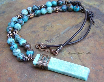 Rustic Beaded Necklace with Chrysoprase Pendant, Gemstone Slab, Chunky, Statement, Turquoise Blue, Hippie, Yoga Energy, Southwest Jewelry