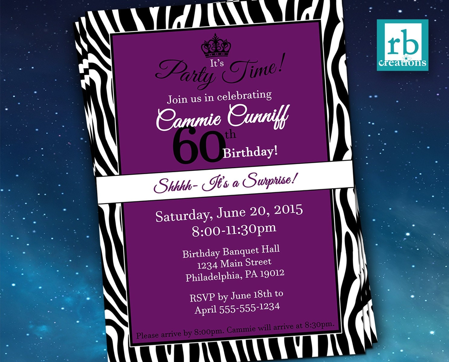 Surprise Party Invitations, Zebra Invitations, Zebra Party, Adult ...