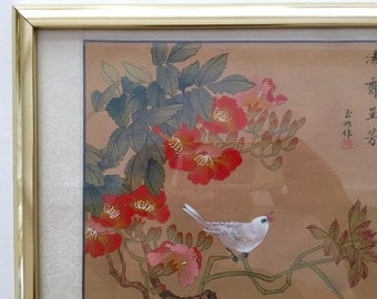 Vintage Framed Oriental Original Asian Watercolor Paintings, Bird and Flower Painting on Silk