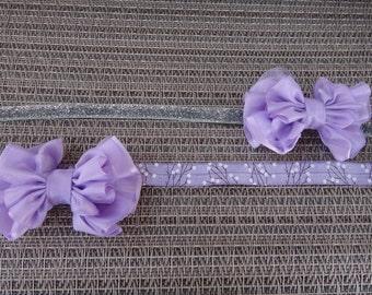 bow headband, newborn, infant, toddler, photo prop, glitter, elastic, lace headband, light pink, silver