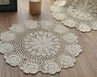 """Hand Crochet Ecru 16"""" Round Doily Table Cloth Topper Runner French Country Snowflake Wedding"""