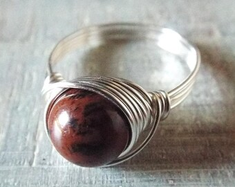 Mahogany Obsidian Ring, Gothic Ring, Silver Gemstone Ring, Obsidian Jewelry, Wire Wrapped Ring, Unique Ring, Red and Black Ring, Red Stone