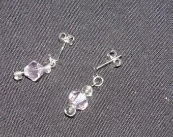 Clear Pink Dangle Earrings