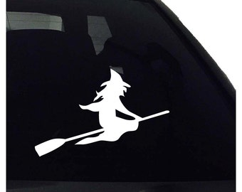 Witch Flying Broom Vinyl Decal - Car Window Bumper Laptop - Decal Vinyl Sticker - Silhouette Decal