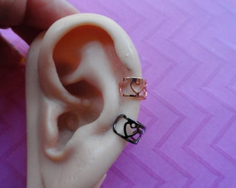 Star heart  rose gold or gunmetal cut out ear cuffs