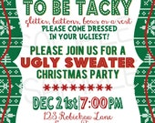 Custom You Print Digital Ugly Sweater Party Invitation, Tacky sweater, Christmas, Holidays, Party,