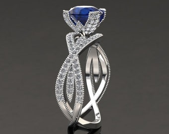 Blue Sapphire Engagement Ring Blue Sapphire Ring 14k or 18k White Gold SW4BUW