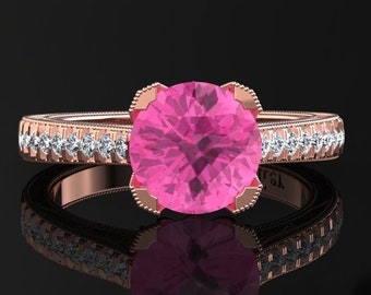 Pink Sapphire Engagement Ring Pink Sapphire Ring 14k or 18k Rose Gold Matching Wedding Band Available SW5PKR