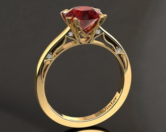 Ruby Engagement Ring Ruby Ring 14k or 18k Yellow Gold Matching Wedding Band Available W22RUBYY
