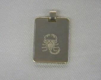 "Fine Silver Bar 999 Scorpion Printed Pendant 1 1/4"" Long ET 6093"