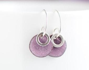 Pretty Purple, Torch Fired, 1/2 Inch Disc, Enamel Earrings, Sterling Silver Ring, Handmade Sterling Ear Wires, Boho Earrings, Boho Chic
