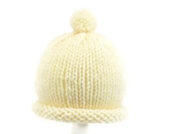 Beige Baby Hat - Newborn Acylic Hand Knit Beanie - Fits 0 to 3 Months