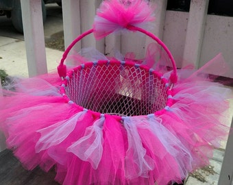 Hot Pink Purple TUTU Easter Basket - use as a bow holder, catch all basket. Can be made in any color or pattern. Gender Reveal?