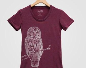 OWL Shirt Women Screen Print Tri-Blend Short Sleeve Tshirt Available: S , M , L , XL