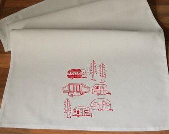 Campervan  - Handmade Screen Printed 100% Cotton Tea Towel - Handmade  Eco Friendly Cotton Towel