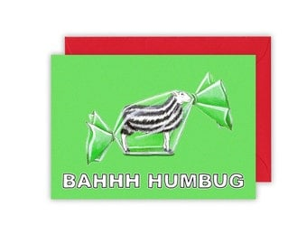 "BAHHH Humbug Christmas Card Reads ""Seasons Bleatings"" inside sheep humbug sweet"