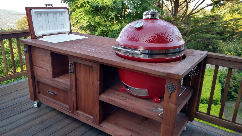 grill table or grill cabinet for big green egg kamado joe. Black Bedroom Furniture Sets. Home Design Ideas