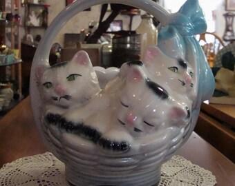 Vintage Three Little Kittens in a Basket Planter American Bisque  Sweet