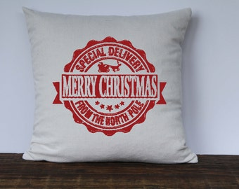 Farmhouse Christmas Pillow Cover, Reindeer Christmas Pillow, Decorative Pillow, Custom Couch Pillow, Vintage Graphic, Special Delvery Pillow