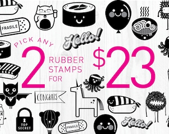 2 rubber stamps of your choice! - FREE SHIPPING WORLDWIDE*