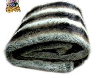 Plush Faux Chinchilla Fur Throw Blanket with Minky Cuddle Lining Black Brown Gray  by Fur Accents