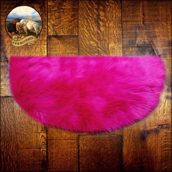 Hot Pink Shaggy Sheepskin Rug Classic Half Round By FurAccents