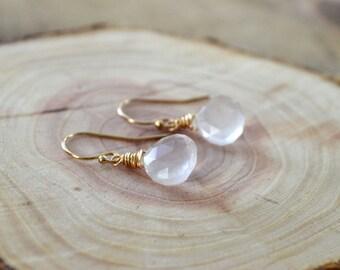 Rose Quartz Gemstone Earrings- Gemstone Earrings- October Birthstone Earrings