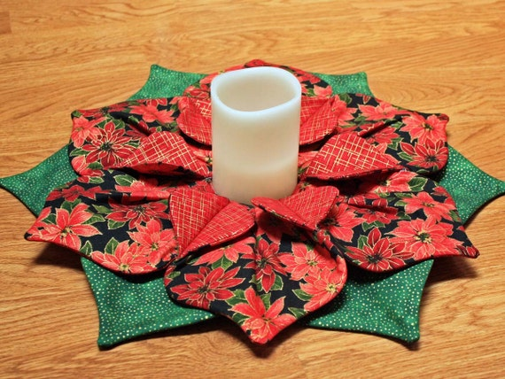 Poinsettia Christmas Table Centerpiece Fold N Stitch Candle