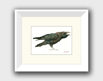 PRINT- Raven print - raven bird art - raven painting - crow art - crow painting - print watercolor bird nursery - Art Print by Juan Bosco