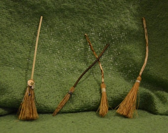 Witches broomstick dollhouse miniature, fantasy miniature in one inch scale