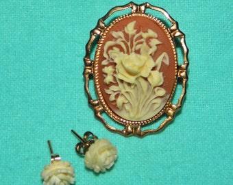 Vintage Rose  cameo Brooch & Earrings