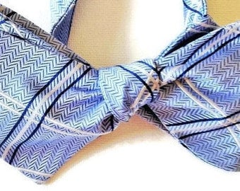 Silk Bow Tie for Men - Blue/White Plaid - One-of-a-Kind - Handcrafted, Self-tie - Free Shipping