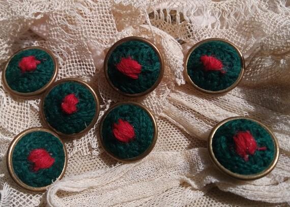 7 Vintage Green Felt Buttons Brass Framed French Buttons Shank Button #SophieLadyDeParis