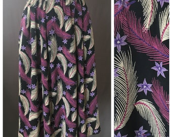 80s does 40s Feather & Floral Print Rayon Skirt | S
