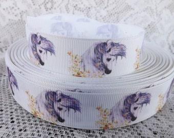 Horse ribbon Horse grosgrain ribbon 7/8 horse ribbon purple horse head