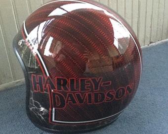 Custom Painted Motorcycle Helmet, Harley, XL, Lace, Pinstriping, Vintage 3/4, Hand Painted Pin Stripe, Easy Rider, Chopper, Bobber,