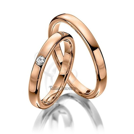 10k Rose Gold Wedding BandsDiamond Wedding RingsMatching