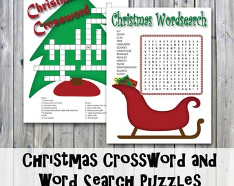 Christmas Crossword Puzzle and Word Search - Party Game Printables - Instant Download