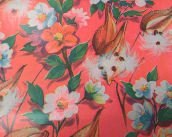 Vintage Gift Wrapping Paper - Neon Orange Seed Pod and Flower Paper - NEON Floral Paper - All Occasion - 1 Unused Full Sheet